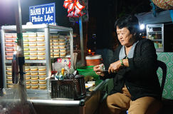Asia cake pavement shop, creme caramel Stock Image