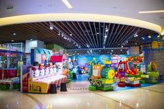 Asia China, Beijing, Aegean Sea shopping center, modern architecture, interior. Asia China, Beijing, Aegean Sea shopping center, set shopping, dining Stock Photo