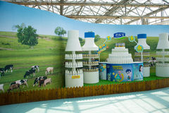 Asia China, Beijing, agricultural carnival,Indoor exhibition hall, Milk products booth Royalty Free Stock Photography