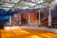 Asia China, Beijing, agricultural carnival,Indoor exhibition hall, scene,Space rocket Stock Images