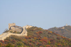 Asia China, Beijing, Badaling national Forest Park, the Great Wall, red leaves Royalty Free Stock Photos