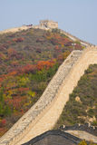 Asia China, Beijing, Badaling national Forest Park, the Great Wall, red leaves Royalty Free Stock Photo