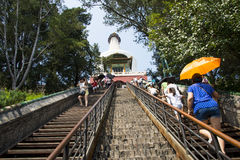 Asia China, Beijing, Beihai Park, garden architecture, Yongan temple, Steps Royalty Free Stock Images