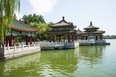 Asia China, Beijing, Beihai Park,Garden building, pavilion,. Asia China, Beijing, Beihai Park, royal garden,Classical building, pavilion, summer landscape Royalty Free Stock Photos