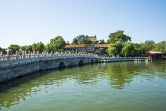 Asia China, Beijing, Beihai Park,Garden building, Stone Bridge,. Asia China, Beijing, Beihai Park, royal garden,Classical building, Stone Bridge, summer Royalty Free Stock Photos