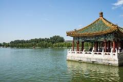 Asia China, Beijing, Beihai Park,Lake Pavilion, summer landscape Stock Image