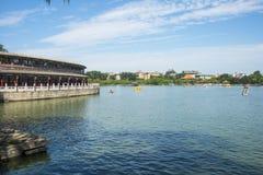 Asia China, Beijing, Beihai Park,Lake view, the long corridor Royalty Free Stock Photography