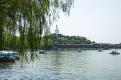 Asia China, Beijing, Beihai Park, Lakeview, long corridor, Royalty Free Stock Photos