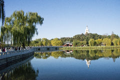 In Asia, China, Beijing, Beihai Park, landscape architecture Royalty Free Stock Photography