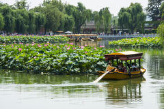 Asia China, Beijing, Beihai Park, The lotus pond, the boat Royalty Free Stock Photo