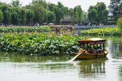 Asia China, Beijing, Beihai Park, The lotus pond, the boat Royalty Free Stock Photo