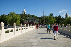 Asia China, Beijing, Beihai Park,Memorial Archway,Stone balustrade Royalty Free Stock Photography