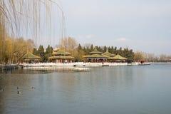 Asia China, Beijing, beihai park, the royal garden, lake view,The Five Dragon Pavilion Stock Photo