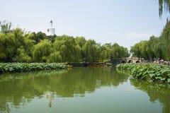 Asia China, Beijing, Beihai Park, The stone bridge, lotus pond, the boat Stock Photos