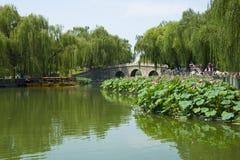 Asia China, Beijing, Beihai Park, The stone bridge, lotus pond, the boat Stock Image