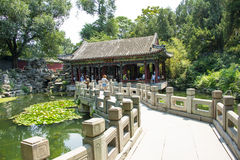 Asia China, Beijing, Beihai Park, The stone bridge, pavilion, Gallery Royalty Free Stock Photos