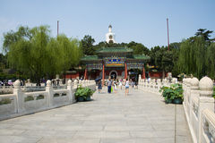 Asia China, Beijing, Beihai Park, Summer garden scenery,Arch, bridge. Asia China, Beijing, Beihai Park, the Chinese ancient royal garden, the building of ancient Royalty Free Stock Photos