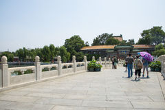 Asia China, Beijing, Beihai Park, Summer garden scenery,Arch, bridge. Asia China, Beijing, Beihai Park, the Chinese ancient royal garden, the building of ancient Stock Photos