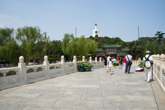 Asia China, Beijing, Beihai Park, Summer garden scenery,. Asia China, Beijing, Beihai Park, the Chinese ancient royal garden, the building of ancient, beautiful Royalty Free Stock Image