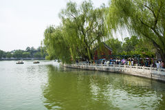 Asia China, Beijing, Beihai Park, Summer garden scenery,. Asia China, Beijing, Beihai Park, the Chinese ancient royal garden, the building of ancient, beautiful Royalty Free Stock Images