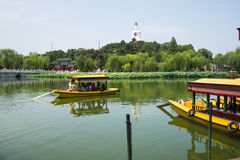 Asia China, Beijing, Beihai Park, Summer garden scenery,cruise Royalty Free Stock Photos
