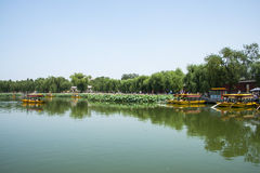 Asia China, Beijing, Beihai Park, Summer garden scenery,The lotus pond, the boat. Asia China, Beijing, Beihai Park, the Chinese ancient royal garden, the Stock Photo