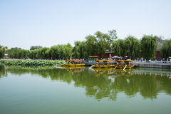 Asia China, Beijing, Beihai Park, Summer garden scenery,The lotus pond, the boat. Asia China, Beijing, Beihai Park, the Chinese ancient royal garden, the Stock Images