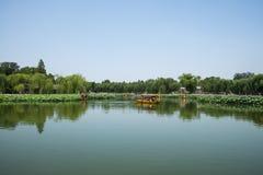 Asia China, Beijing, Beihai Park, Summer garden scenery,The lotus pond, the boat Stock Photos