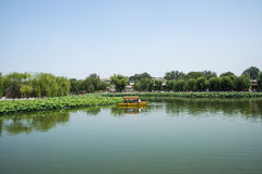 Asia China, Beijing, Beihai Park, Summer garden scenery,The lotus pond, the boat. Asia China, Beijing, Beihai Park, the Chinese ancient royal garden, the Stock Image