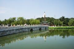Asia China, Beijing, Beihai Park, Summer garden scenery,Stone Bridge,The White Pagoda Stock Photo