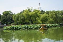 Asia China, Beijing, Beihai Park, The white pagoda,The lotus pond, Stock Photos