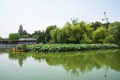 Asia China, Beijing, Beihai Park, White tower, lotus pond, the boat, Stock Photo