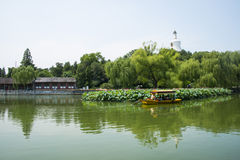 Asia China, Beijing, Beihai Park, White tower, lotus pond, the boat, Stock Images