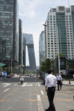 Asia, China, Beijing, CBD Central Business District, street, tall buildings and modern architecture Stock Photo