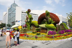 Asia China, Beijing, Chang'an Avenue, three-dimensional flower beds Royalty Free Stock Photos