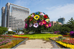 Asia China, Beijing, Chang'an Avenue, three-dimensional flower beds Stock Photos