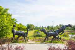 Asia China, Beijing, Changyang Park, Landscape sculpture, group of deer Stock Photography