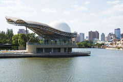 In Asia, China, Beijing, Chaoyang Park, the lake, the center of the island theatre, the scenery Stock Photo