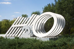 In Asia, China, Beijing, Chaoyang Park, landscape sculpture Stock Photo