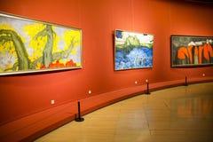 Asia China, Beijing, China Art Museum, indoor exhibition hall, oil painting exhibition. Asia China, Beijing, China Art Museum, modern architecture, indoor Stock Image