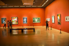 Asia China, Beijing, China Art Museum, indoor exhibition hall, oil painting exhibition Stock Image