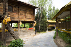 Asia China, Beijing, China Minzu Yuan, landscape architecture, wood floor. Beijing Chinese Min zu Yuan, traditional architecture, China minority ethnic customs royalty free stock photography