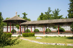 Asia China, Beijing, Chinese Cultural Park, antique buildings, Round pavilion,The Long Corridor Stock Photography