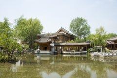 Asia China, Beijing, elm village, park, garden architecture,Courtyard Stock Image