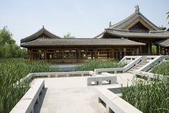 Asia China, Beijing, elm village, park, garden architecture,Pavilion, corridor, stone steps Royalty Free Stock Image