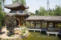 Asia China, Beijing, elm village, park, garden architecture,Pavilion, Gallery Stock Photos