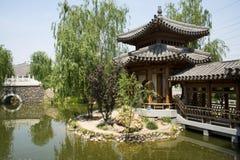 Asia China, Beijing, elm village, park, garden architecture,Pavilion, Gallery Stock Photography