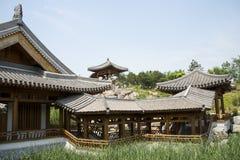 Asia China, Beijing, elm village, park, garden architecture,Pavilion, gallery, Stock Photo
