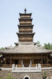 Asia China, Beijing, elm village, park, garden architecture,The attic, the wooden tower Royalty Free Stock Photography