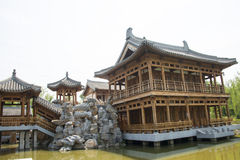Asia China, Beijing, elm village, park, garden architecture,Pavilion, gallery, attic Royalty Free Stock Photography